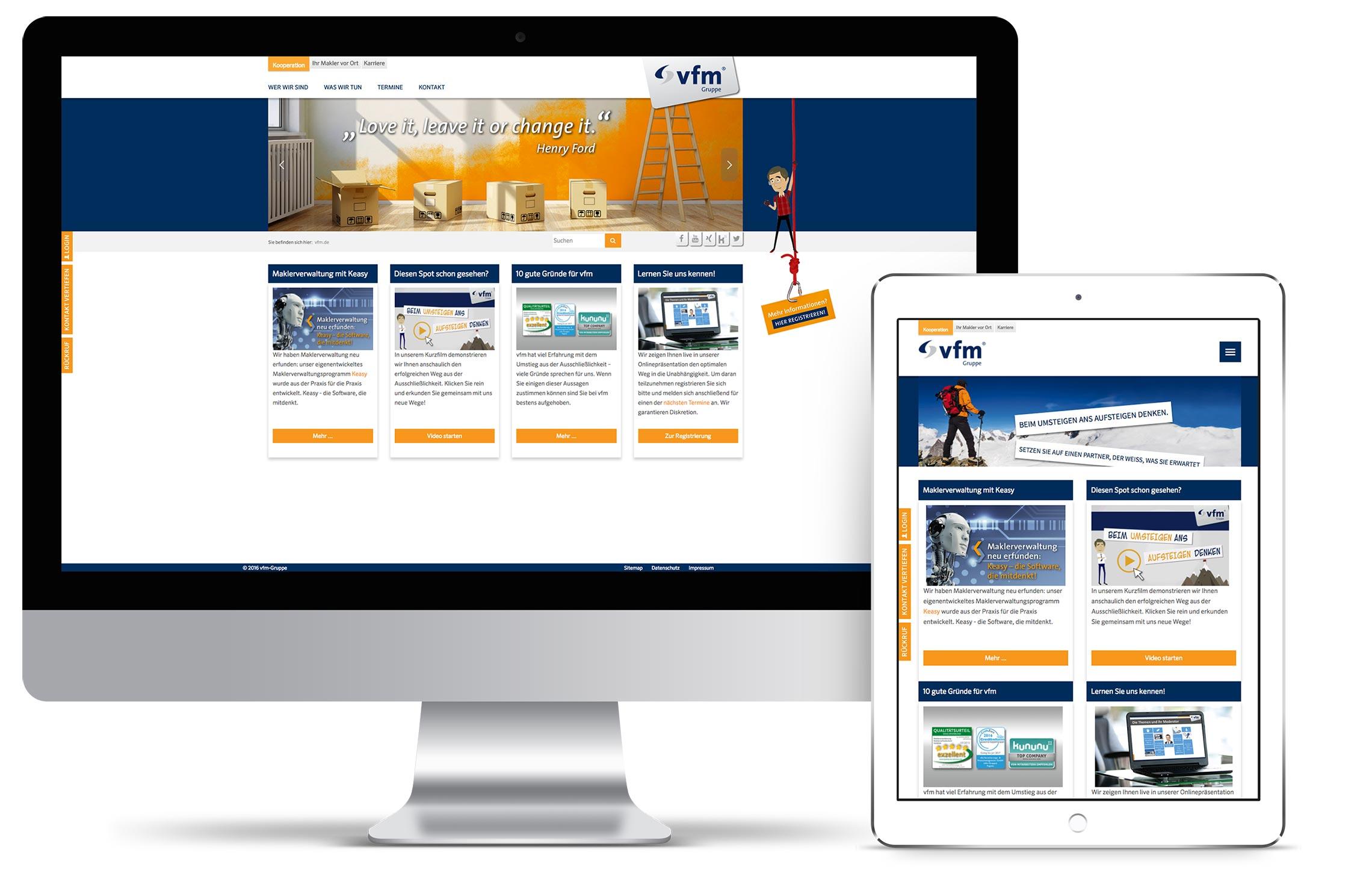 Design und Konzeption der Webseite für die vfm-Gruppe