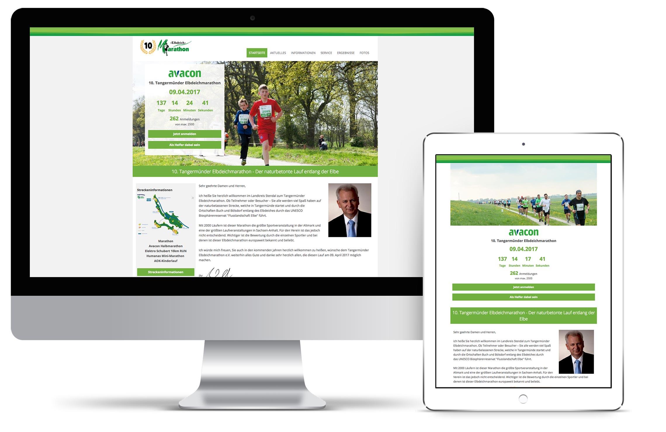 Referenz-Mockup Elbdeichmarathon zu Hosting und Domain