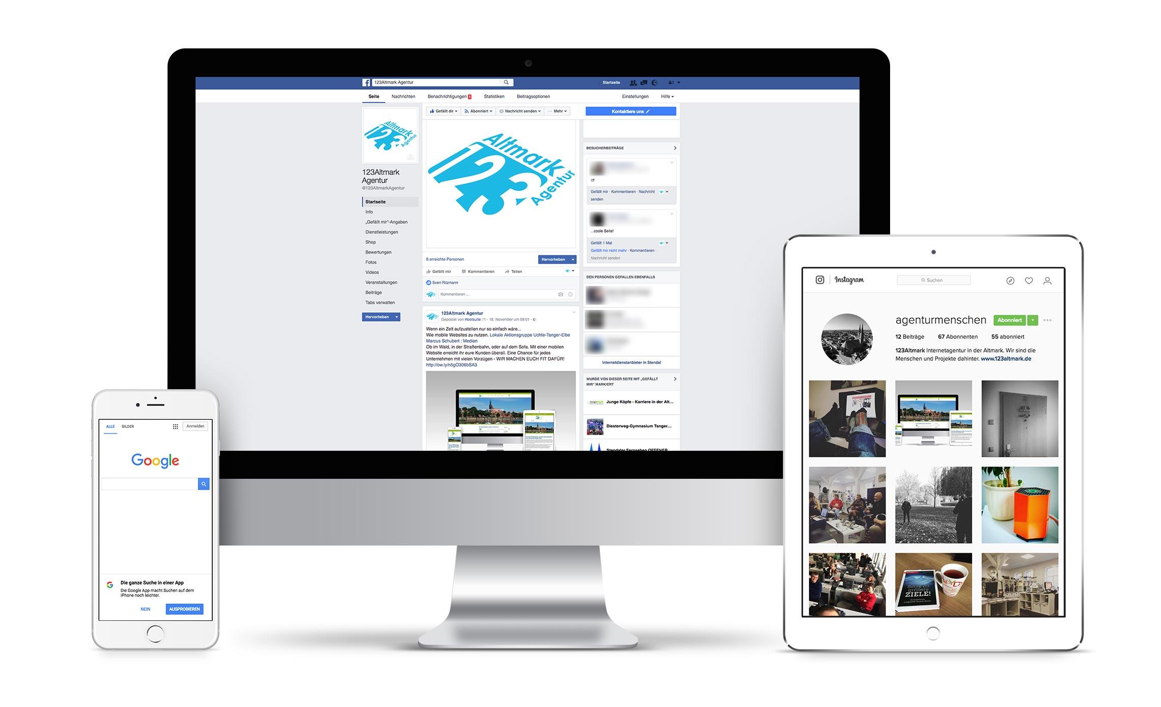 Darstellung der Facebook- und Instagram-Seite 123Altmark Agentur
