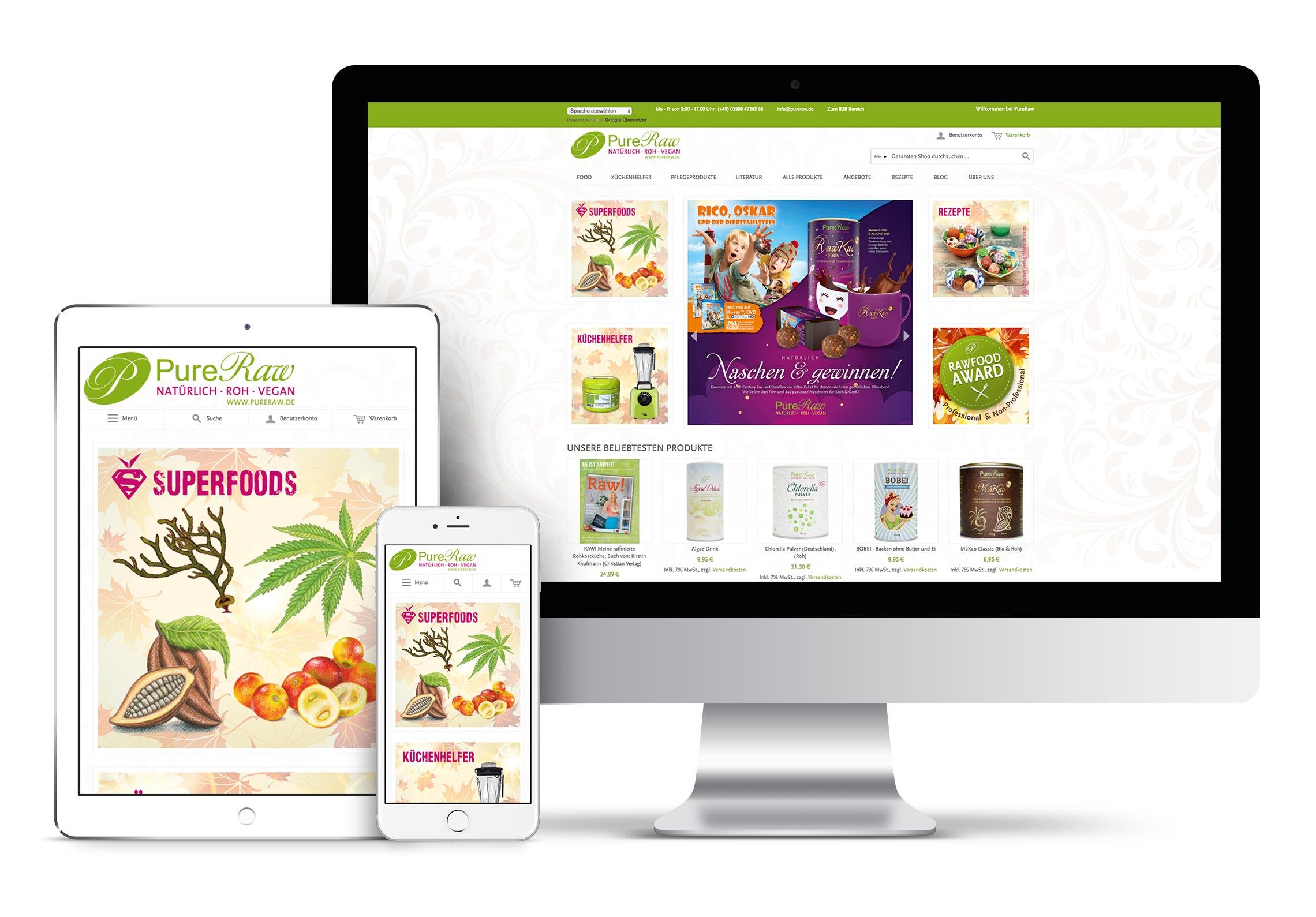 Mockups zur Darstellung eines Online-Shops